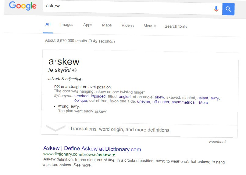askew in google