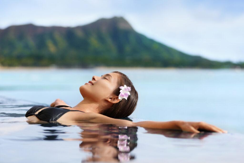 Hawaii Vacation Wellness Pool Spa Woman Relaxing