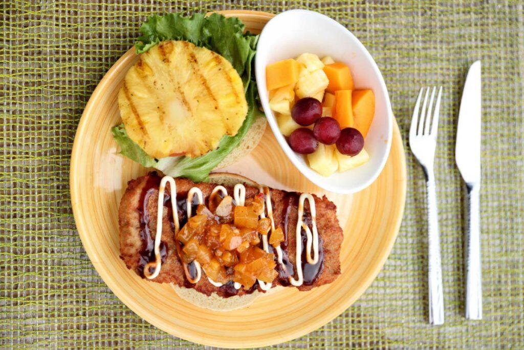 Hawaiian Japanese Fusion Food Chicken Burger