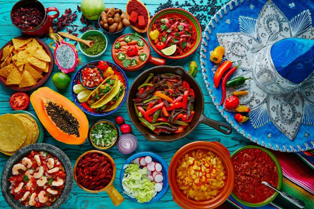 colorful ingredients for mexican food