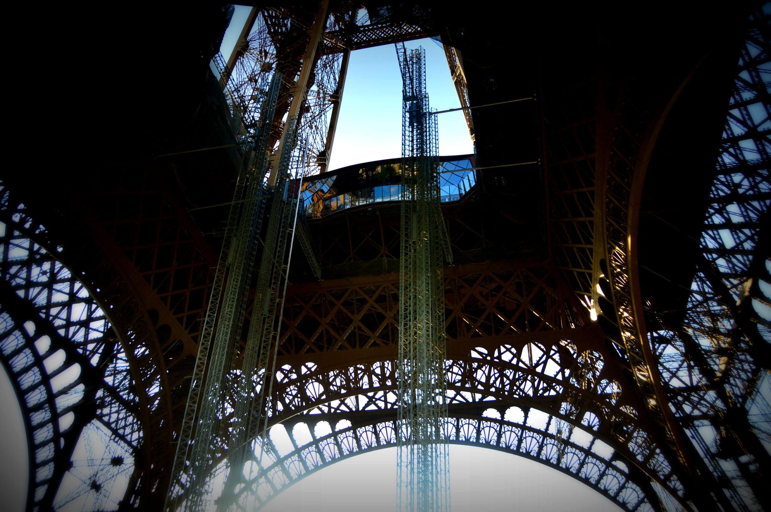 underneath the eiffel tower paris
